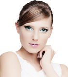 Beautiful girl with perfect makeup Stock Images