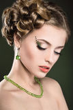 Beautiful girl with perfect skin and bright makeup Royalty Free Stock Images