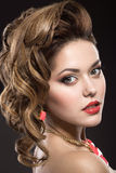 Beautiful girl with perfect skin and evening makeup. Royalty Free Stock Photo