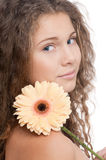 Beautiful girl with perfect skin and flower Royalty Free Stock Images