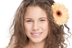 Beautiful girl with perfect skin and flower Royalty Free Stock Photo