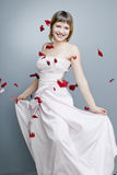 Beautiful girl with perfect skin in a long dress Royalty Free Stock Image