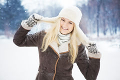 Beautiful girl with perfect skin posing in the park. Royalty Free Stock Images