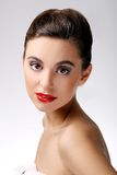 Beautiful girl with perfect skin and red lipstick Stock Photos