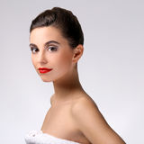 Beautiful girl with perfect skin and red lipstick Royalty Free Stock Photo