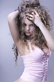 Beautiful girl with perfect skin, thick curly hair Stock Photography