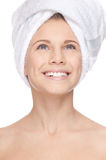 Beautiful girl with perfect skin and towel Stock Photos