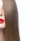 Beautiful girl with a perfectly smooth hair and red lips. Beauty face. Royalty Free Stock Image
