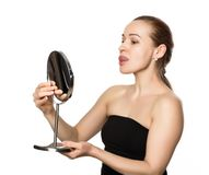 Beautiful girl performs anti-aging exercises. face fitness for anti sagging skin.  Stock Images