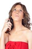 Beautiful girl perfuming Stock Photos