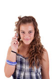 Beautiful girl on the phone smiling Royalty Free Stock Image