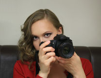 Beautiful girl the photographer Royalty Free Stock Images