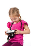 Beautiful girl  photographing Stock Photography