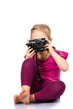 Beautiful girl photographing Stock Photo