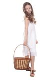 Beautiful girl with picnic basket over white Stock Photos