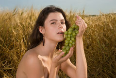 Beautiful girl on picnic in field with grapes Royalty Free Stock Images