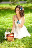 Beautiful girl on picnic on nature. Beautiful Young girl Outdoor Royalty Free Stock Image
