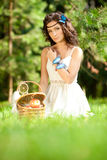 Beautiful girl on picnic on nature. Beautiful Young girl Outdoor Stock Images