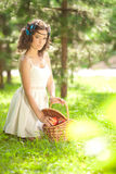 Beautiful girl on picnic on nature. Beautiful Young girl Outdoor Stock Photos