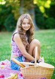 Beautiful girl on a picnic Stock Photography