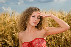 Beautiful girl on picnic in wheat field Stock Image