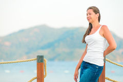 Beautiful girl on the pier Royalty Free Stock Images