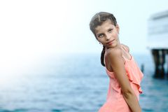 Beautiful Girl on The Pier. Sea Stock Image