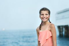 Beautiful Girl on The Pier. Sea Royalty Free Stock Photos