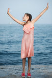 Beautiful Girl on The Pier. Sea Royalty Free Stock Images
