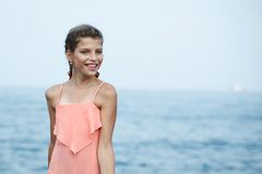 Beautiful Girl on The Pier. Sea Stock Photography