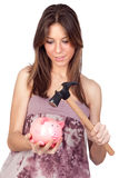 Beautiful girl with piggy-bank Stock Images