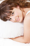 Beautiful girl with pillow Royalty Free Stock Images