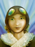 Beautiful girl pilot Stock Images