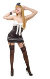 Beautiful girl in pin-up style with black stockings Royalty Free Stock Photo