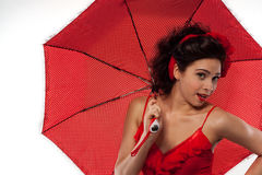 Beautiful girl  pin-up style with umbrella Royalty Free Stock Photos