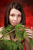 Beautiful girl with pine branch Stock Image