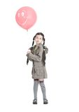 Beautiful girl with pink balloon. Over white Royalty Free Stock Photos