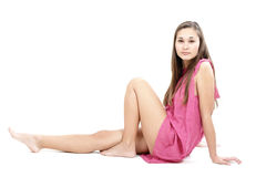 Beautiful girl in pink dress Stock Photos