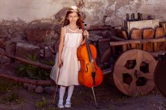 Beautiful girl in a pink dress with a cello in the village. ancient cart with wine