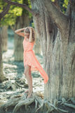 Beautiful girl in a pink dress in the forest Stock Image