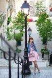 Beautiful girl in pink dress on Montmartre Royalty Free Stock Photo