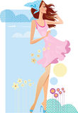 Beautiful girl in pink dress Royalty Free Stock Image