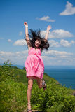 Beautiful girl in the pink in ecstasy Royalty Free Stock Image