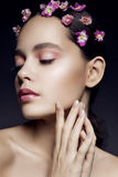 Beautiful girl with pink flowers Royalty Free Stock Photo