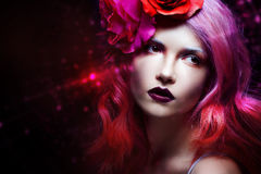 Beautiful girl with pink hair Stock Photography