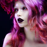 Beautiful girl with pink hair Royalty Free Stock Images
