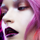 Beautiful girl with pink hair,  close-up Royalty Free Stock Photo