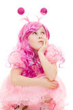 Beautiful girl with pink hair in a pink dress Royalty Free Stock Image
