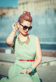 Beautiful girl with pink hair in vintage clothing Royalty Free Stock Photography