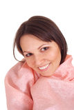 Beautiful girl in pink irresistible blanket Stock Image